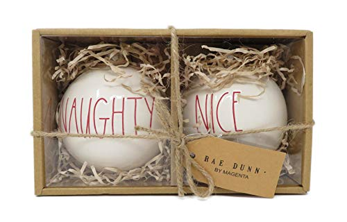 Rae Dunn by Magenta Set of 2 Naughty & Nice Ceramic LL Red Letter Round Bulb Christmas Tree Ornaments ()
