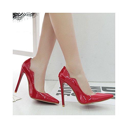 OCHENTA Mujeres atractivas de los talones de estilete del talón del club de boda 12CM Rojo