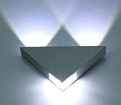 Lightess Modern Wall Sconce Lighting Triangle Mini Wall Lamp Designed 3W LED Cold White