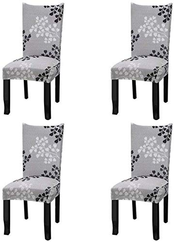 YISUN Stretch Dining Chair Covers Removable Washable Short Dining Chair Protect Cover for Hotel,Dining Room,Ceremony,Banquet Wedding Party (Deep Gray, 4 PCS)