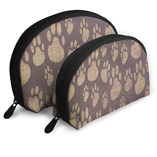 Makeup Bag Paw Dog Print Handy Half Moon Clutch Pouch Bags Case For Women