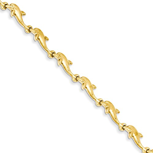 Roy Rose Jewelry 14K Yellow Gold Dolphin Bracelet ~ Length 7'' inches (Dolphin Yellow 7' Gold Bracelet)