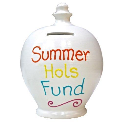 Terramundi Money Pot - White With Summer Hols Fund In Multi Colours S181