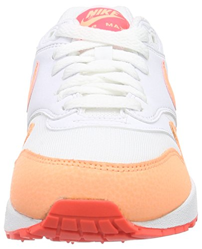 Nike Air Max 1 Essential Damen Laufschuhe Weiß (White/Sunset Glow-Hot Lava 114)