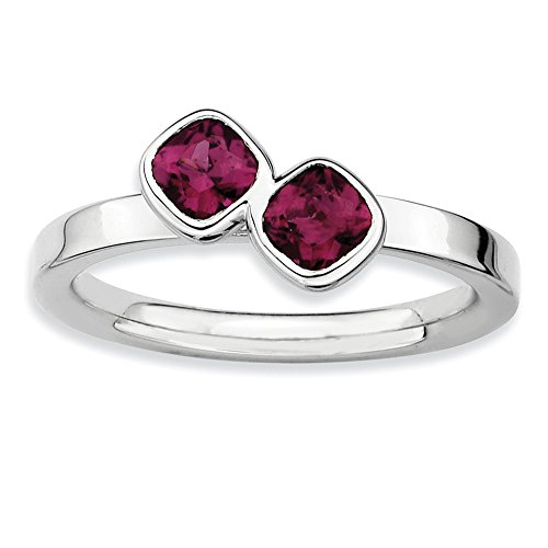 Sterling Silver Stackable Expressions Dbl Cushion Cut Rhodolite Garnet Ring Size 10