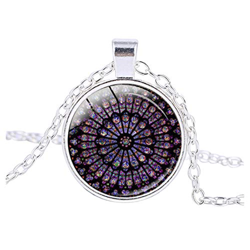 Yellsong Necklace,Rose Window Stained Glass de Paris Cathedral Pendant Necklace
