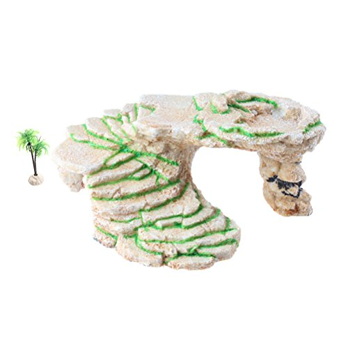 Emours Turtle Basking Platform Shale Rock Den Step Ledge and Gecko Cave Hideout with Plastic Plant, Large by Emours