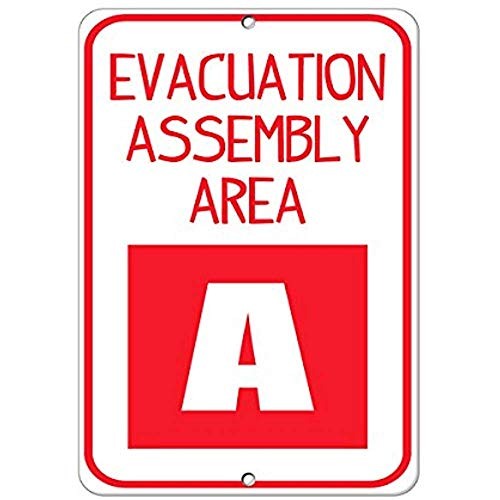 Evacuation Assembly Area A Hazard Sign Emergency Aluminum Metal Sign