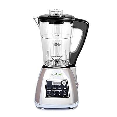 Upgraded NutriChef Pro Soup Maker & Blender | Multifunction Machine | Hot and Cold, Juicer, Soup & Smoothie Maker | Food Warmer Function | Healthy Food | Pulse, Steamer, Boiler, 1.7L, Silver