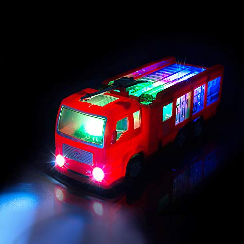 ToyThrill Electric Fire Engine Truck Toy with Automatic Sensor, 3D Star Flashing Lights and Siren Music for Toddlers & Kids Ages 3+ yrs ()