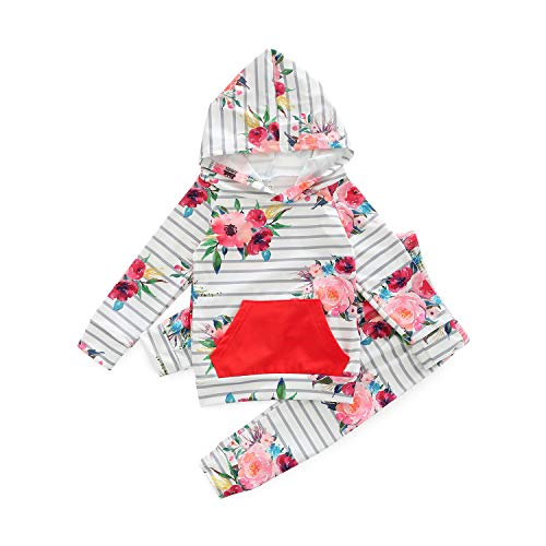 MHSH Baby Long Sleeve Flowers Sweatshirt and Pants Outfit with Hoodie and Kangaroo Pocket (White, 95/24-36M)