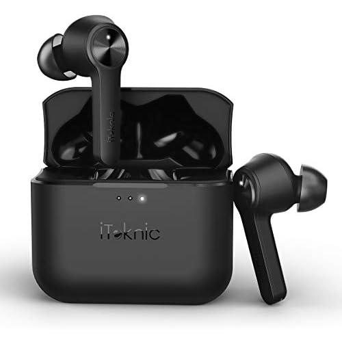 chollos oferta descuentos barato Auriculares inalámbricos Bluetooth iTeknic TWS auriculares Bluetooth 5 0 auriculares True Wireless estéreo impermeable IPX4 con caja de carga y cancelación de ruido para dispositivos Android Apple iPhone