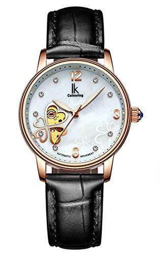 (Women's Automatic Watch, Leather Band Diamond Luminous Self Winding Lady Dress Watch (Black))