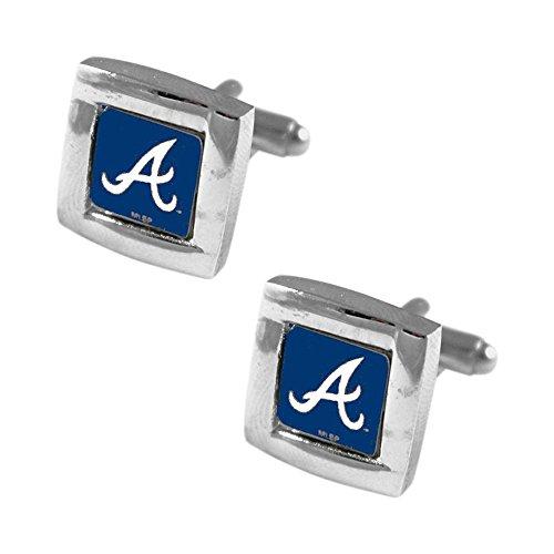 Atlanta Braves MLB Sports Fan Team Logo Square Engraved Design Mens Shirt Cufflinks Gift Box Set