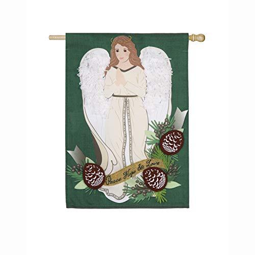 Evergreen Flag Peace Hope Love Angel Linen House Flag, 28 x 44 inches