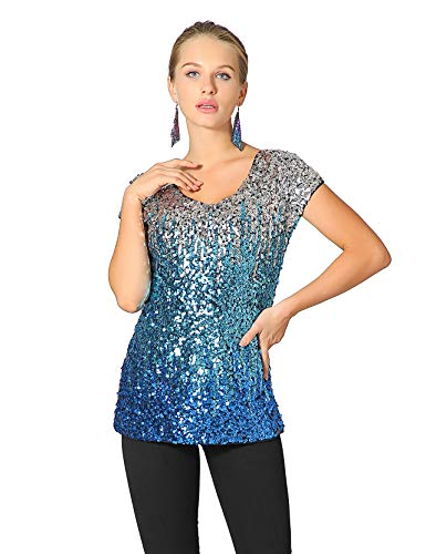 Metme Women's Shimmer Loose Cap Sleeve Tank Top Gradient Sequin Embellished Vest Glitter Party Club Tops