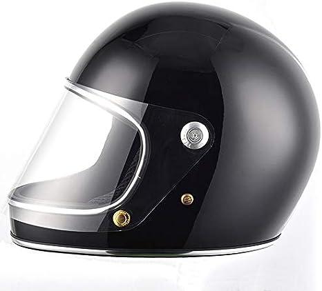 Casco de Moto Estilo japonés Full Face Rider Fiberglass Retro con Lente Cascos de Seguridad-Negro, M: Amazon.es: Deportes y aire libre
