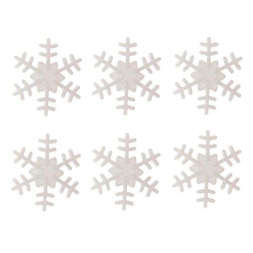 vanpower 100pcs Plastic Button Snowflake Scrapbooking Pendant Christmas Decor