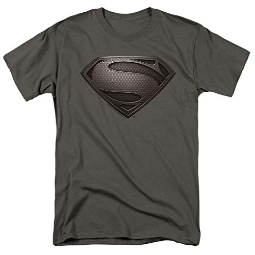 Popfunk Superman Man of Steel Movie Gray Shield Charcoal Gray T Shirt (XXXX-Large) -