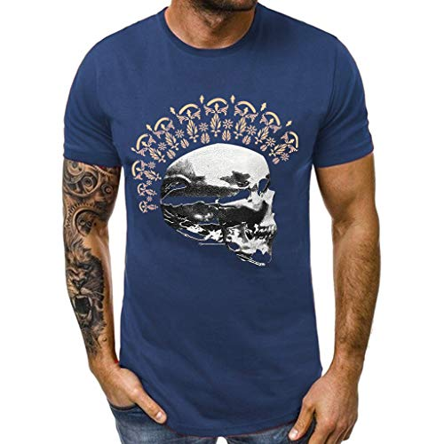 - Men Easter T Shirt GREFER Summer Men's Skull Print Short Sleeve Shirts Casual Crew Neck Tops Navy