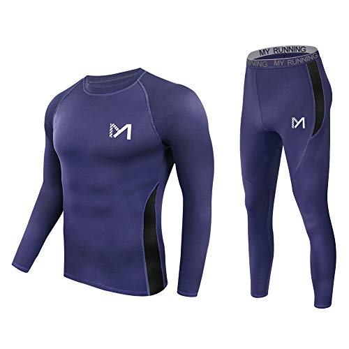 Men's Thermal Underwear Set, Sport Long Johns Base Layer for Male, Winter Gear Compression Suits for Skiing Running (Blue, Medium) (Mens Outdoor Underwear)