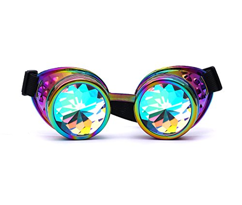 (Lelinta Steampunk Rave Glasses Goggles with Rainbow Crystal Glass Lens,Cool,Adjustable )