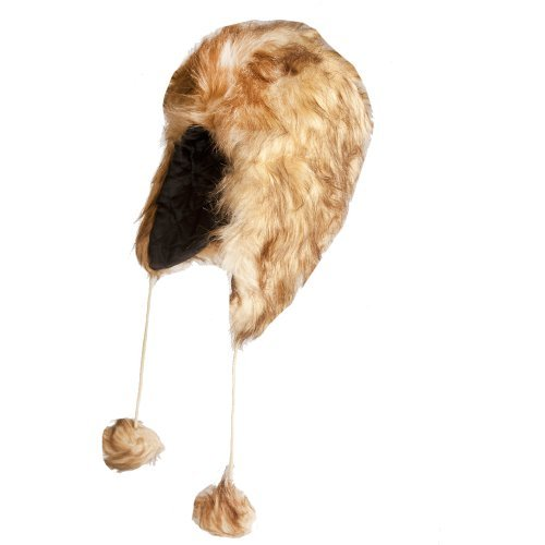 Accessoryo Women's Luxury Mix Faux Fur Trapper Hat with matching Fur Pompoms 58cm Brown/Beige Mix