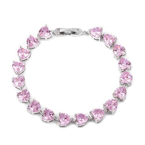 14K White Gold Finish 3.20Ctw Heart Cut Pink Sapphire Tennis Bracelet