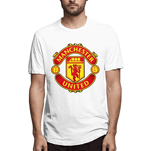 - Manchester United Luxury Club Logo Men's Comfortable Soft Short Sleeve T-Shirt White