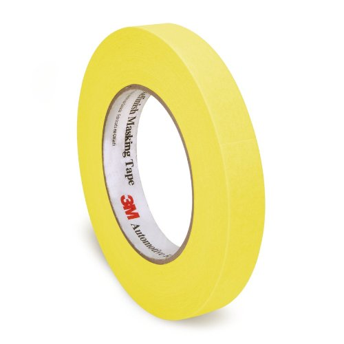 3M Automotive Mrefinish Masking Tape - Cinta de Carrocero, Amarillo, 18 mm x 55m, 1 unidad