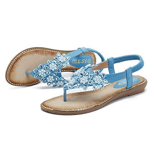 Beaded Toe Dimensione on Size EU Women Nero Blu Shoes 39 ZHRUI Bohemian Clip Colore Large Sandals Flower Slip 0XSqfS