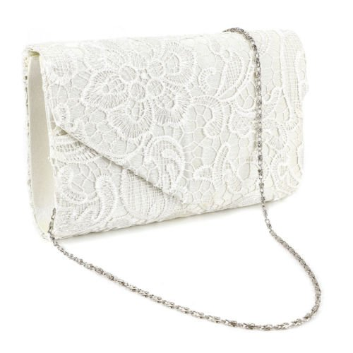 The Pecan Man Beige Clutch Ladies Lace Floral Women Bag Wedding Prom Evening Shoulder Handbag Purse