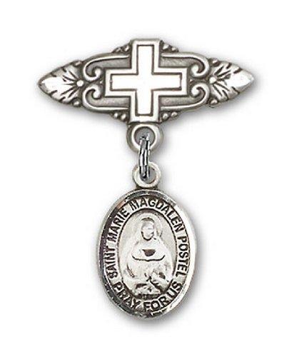 Icecarats Créatrice De Bijoux En Argent Sterling Marie Madeleine Charme Postel Pin Badge Avec Croix 1 X 3/4