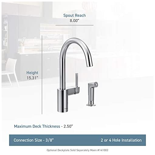 Kitchen Moen 7165SRS Align One-Handle High-Arc Modern Kitchen Faucet with Side Spray, Spot Resist Stainless modern sink faucets