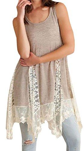 Nulibenna Women's Summer Sleeveless Irregular Hem Patchwork Lace Tunic Top Dress