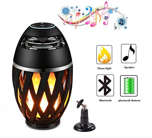 Legazone Flame Atmosphere Speakers, Table Lamp Bluetooth Night Light Outdoor/Indoor Portable Stereo Bluetooth Speaker,96 LED Beads,Dancing Flicker Flame Camping Lamp Portable Wireless (Best Torches With Stereos)