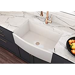 Farmhouse Kitchen MOCCOA Regallo 30″ Authentic Fireclay Kitchen Sink Reversible Single Bowl Farmhouse Sink White farmhouse kitchen sinks