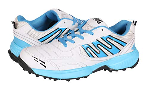 KD MG Cricket Shoes Rubber Spike Cricket, Hockey Sports Studs Indoor Out Door Trek Shoes (UK09/US10, White/Blue)