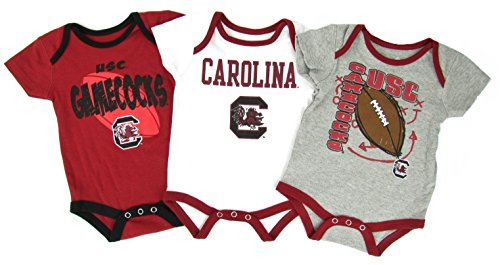 South Carolina Gamecocks NCAA 3 Point Spread Newborn 3 Pack Bodysuit Creeper Set