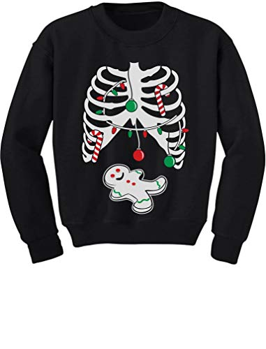 Gingerbread Skeleton Christmas Rib Cage Xray Cute Kids Sweatshirt Medium Black ()