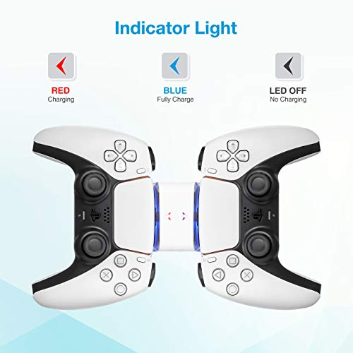 Powerextra Control Charger for PS5 - Charging Station for Playstation 5 Dual Charger Compatible with DualSense Playstation 5 Controllers with LED Indicator - Charging Type-C