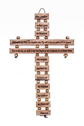 Zuluf Lords Prayer Small Cross Lord Prayer Olive Wood Cross from Bethlehem with a Certificate 9 CRS104Z