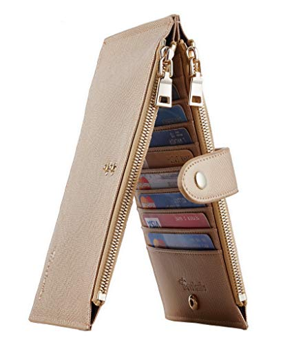 Travelambo Womens Walllet RFID Blocking Bifold Multi Card Case Wallet with Zipper Pocket (CH Gold Champagne 3310F)