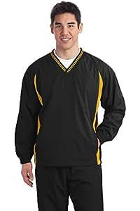 Sport-Tek Men's Tipped V Neck Raglan Wind Shirt 3XL Black/ Gold