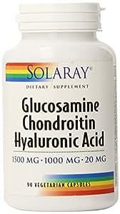 Solaray Glucosamine Chondroitin and Hyaluronic Acid, 1500mg/1000mg/ 20mg, 90 Capsules