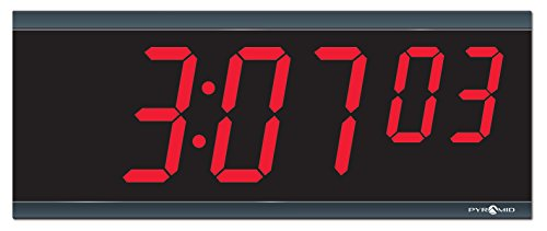 Pyramid Extra Large 4 numeral Red LED Digital Clock, 6-Digit, 110V, 6' cord, Made in USA (DIG-6B)