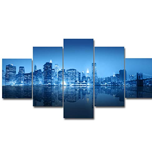 (KTFBH Living Room Canvas Painting Picture Poster 5 Panel City Night View Z Wall Living Room Home Office Decoration New Artwork-No)