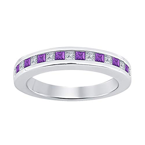 (Princess Cut Amethyst & Diamond Half Eternity 14k White Gold Plated 925 Sterling Silver Wedding Band Ring for Women)