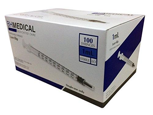 1ml Syringe Sterile with Luer Slip Tip - 100 Syringes by BH Medical (No needle) Individually (1 Ml Oral Syringe)