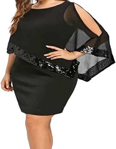4378b3d013e Fieer Women s Plus Size Irregular Simple Round Neck Sequin Mesh Mini Dress  Black 4XL